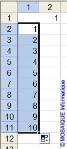 La recopie incrémentée est, cette fois, utilisée verticalement - Excel - MOSAIQUE Informatique - 54 - Nancy - Meurthe et Moselle - Lorraine