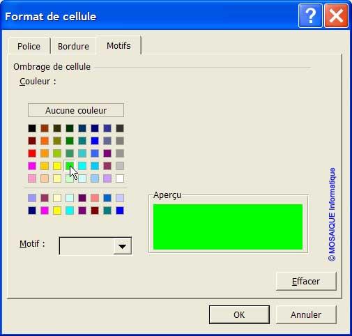 La boîte de dialogue Format de cellule - Excel - MOSAIQUE Informatique - 54 - Nancy - Meurthe et Moselle - Lorraine