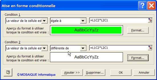 Une seconde condition est ajoutée - Excel - MOSAIQUE Informatique - 54 - Nancy - Meurthe et Moselle - Lorraine