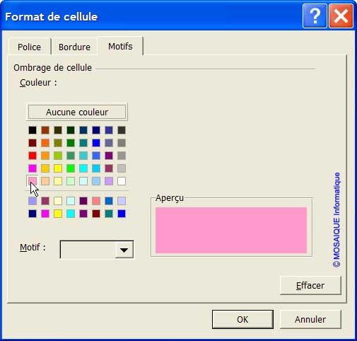 Le choix de la seconde couleur - Excel - MOSAIQUE Informatique - 54 - Nancy - Meurthe et Moselle - Lorraine