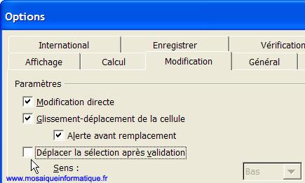 Désactivez le déplacement automatique de la cellule après validation - Excel - MOSAIQUE Informatique - Formations bureautiques - 54 - Nancy - www.mosaiqueinformatique.fr