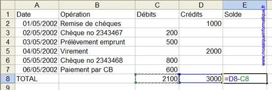La formule de calcul du solde - Excel - MOSAIQUE Informatique - Cours en ligne - 54 - Nancy - www.mosaiqueinformatique.fr