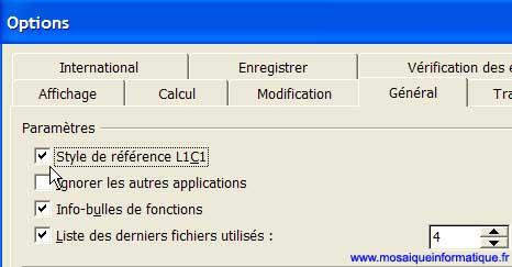 Le passage en références de type L1C1 - Excel - MOSAIQUE Informatique - Création de logiciels spécifiques - 54 - Nancy - www.mosaiqueinformatique.fr