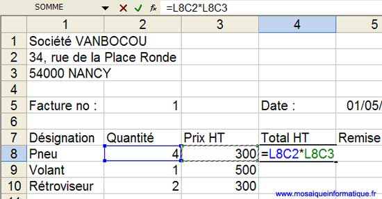 La formule du calcul du total HT, en références de type L1C1 - Excel - MOSAIQUE Informatique - Formations informatiques - 54 - Nancy - www.mosaiqueinformatique.fr