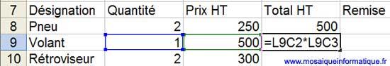 La formule du calcul du total HT, sur la ligne suivante - Excel - MOSAIQUE Informatique - Création de sites Internet - 54 - Nancy - www.mosaiqueinformatique.fr
