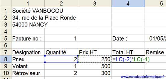 La nouvelle formule, utilisant des références relatives - Excel - MOSAIQUE Informatique - Sites Internet  - 54 - Nancy - www.mosaiqueinformatique.fr