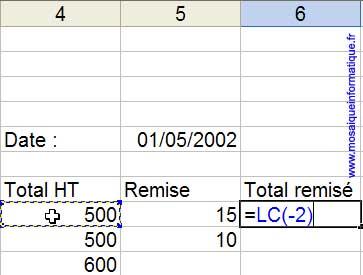 Un clic en L8C4 insère la position relative de la cellule dans la formule de la cellule L8C6, en cours d'édition - Excel - MOSAIQUE Informatique - Cours informatiques  - 54 - Nancy - www.mosaiqueinformatique.fr