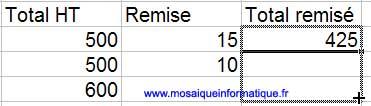 La recopie de la formule vers le bas avec la poignée de recopie - Excel - MOSAIQUE Informatique - Création de sites web  - 54 - Nancy - www.mosaiqueinformatique.fr