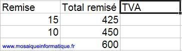 La colonne TVA est ajoutée - Excel - MOSAIQUE Informatique - Création de boutiques en ligne - 54 - Nancy - www.mosaiqueinformatique.fr