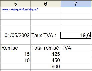 Le taux de TVA est stocké en L5C7 - Excel - MOSAIQUE Informatique - Création de sites de commerce électronique - 54 - Nancy - www.mosaiqueinformatique.fr