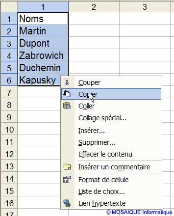 Les cellules renfermant les noms des représentants sont copiées - Excel - MOSAIQUE Informatique - Boutiques en ligne - 54 - Nancy - www.mosaiqueinformatique.fr