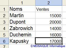 La saisie des ventes du mois de janvier - Excel - MOSAIQUE Informatique - Création de sites Internet - 54 - Nancy - www.mosaiqueinformatique.fr
