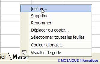Une nouvelle feuille est insérée - Excel - MOSAIQUE Informatique - Formations bureautiques - 54 - Nancy - www.mosaiqueinformatique.fr