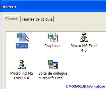 Le choix du type de feuille - Excel - MOSAIQUE Informatique - 54 - Nancy - www.mosaiqueinformatique.fr