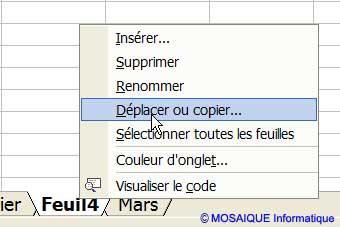 Le menu contextuel - Excel - MOSAIQUE Informatique - 54 - Nancy - www.mosaiqueinformatique.fr