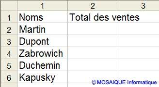 La feuille Trimerstre va collecter le total des ventes - Excel - MOSAIQUE Informatique - 54 - Nancy - www.mosaiqueinformatique.fr