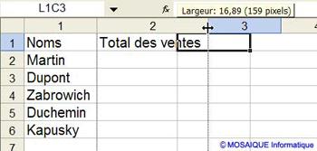 La largeur de la colonne est augmentée - Excel - MOSAIQUE Informatique - 54 - Nancy - www.mosaiqueinformatique.fr