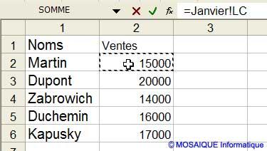 La cellule de l'onglet Janvier est cliquée - Excel - MOSAIQUE Informatique - 54 - Nancy - www.mosaiqueinformatique.fr