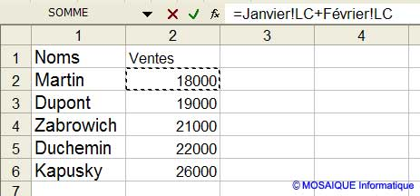 La cellule de l'onglet Février est cliquée - Excel - MOSAIQUE Informatique - Création de sites Internet - 54 - Nancy - www.mosaiqueinformatique.fr