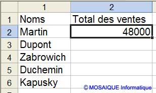 Le résultat de la formule - Excel - MOSAIQUE Informatique - Création de sites Internet - 54 - Nancy - www.mosaiqueinformatique.fr