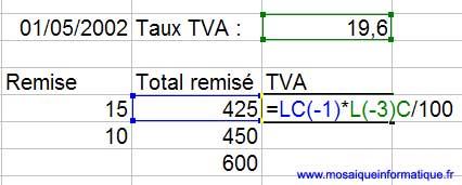 Le calcul du montant de la TVA est effectué en références absolues - Excel - MOSAIQUE Informatique - Formation sur logiciels - 54 - Nancy - www.mosaiqueinformatique.fr