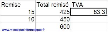 Le premier montant de TVA est calculé - Excel - MOSAIQUE Informatique - Formations informatiques - 54 - Nancy - www.mosaiqueinformatique.fr
