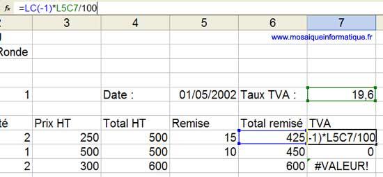 La nouvelle formule utilise à la fois des références relatives et des références absolues - Excel - MOSAIQUE Informatique -Sites Internet - 54 - Nancy - www.mosaiqueinformatique.fr