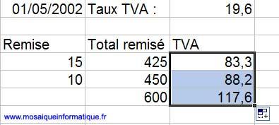 La nouvelle formule est recopiable - Excel - MOSAIQUE Informatique - Création de sites Internet - 54 - Nancy - www.mosaiqueinformatique.fr