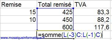 Le calcul du total de la colonne des totaux remisés - Excel - MOSAIQUE Informatique - Commerce électronique - 54 - Nancy - www.mosaiqueinformatique.fr