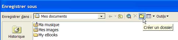 L'icône Créer un dossier - Excel - MOSAIQUE Informatique - Formations bureautiques - 54 - Nancy - www.mosaiqueinformatique.fr
