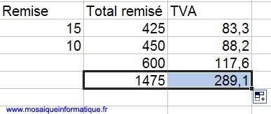 La poignée de recopie permet cette fois de recopier la formule vers la droite - Excel - MOSAIQUE Informatique - Formations informatiques - 54 - Nancy - www.mosaiqueinformatique.fr