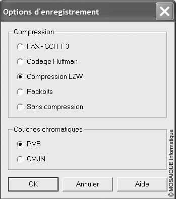 Cours sur la photo numérique - Les options de compression de fichier, au format tif, lors de l'enregistrement d'une image depuis le logiciel Jasc Paint Shop Pro 7