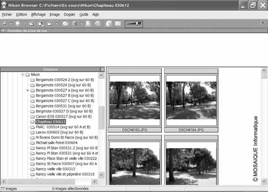 Cours sur la photographie numérique - Le logiciel Nikon View 5, fourni avec les appareils de marque Nikon