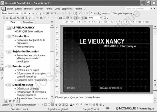 Cours sur la photo numérique - Après l'exécution de l'Assistant Sommaire automatique, PowerPoint vous propose un diaporama qu'il ne vous restera qu'à personnaliser