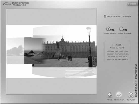 Cours photo numérique - Nancy - Ici, le logiciel n'a pas trouvé de zones en intersection sur les images du panorama