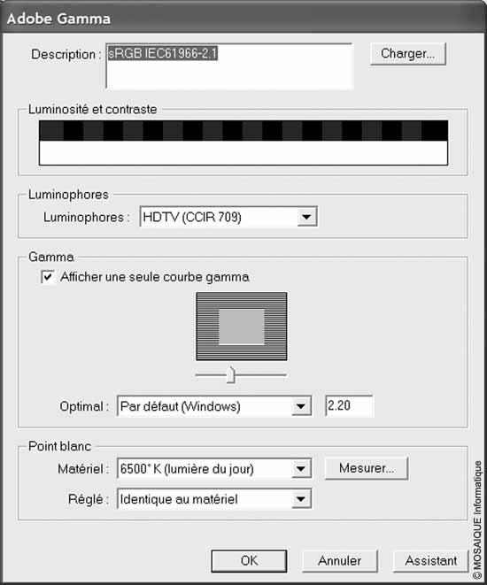 Cours Photo numérique - L'étalonnage du moniteur, effectué depuis Adobe Gamma