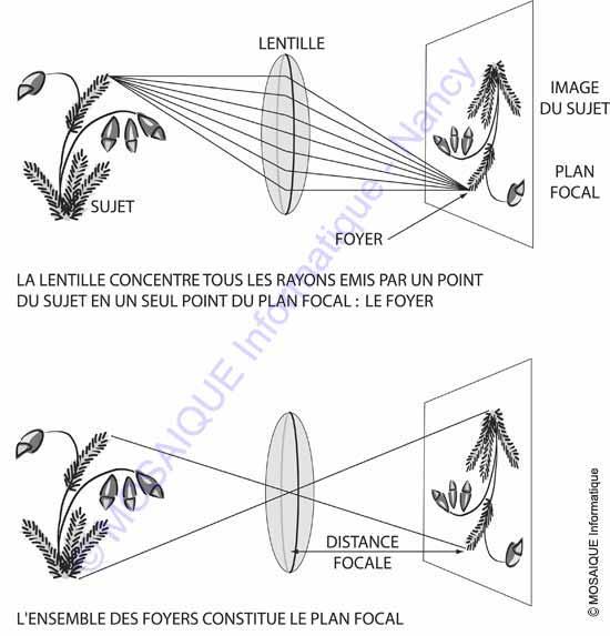 Formation d'une image sur un plan focal, après passage de la lumière dans une lentille convexe - Tutoriel photo numérique - MOSAIQUE Informatique - Formations informatiques - Nancy - Lorraine