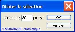 La boîte de dialogue Dilater la sélection  - Cours Photoshop