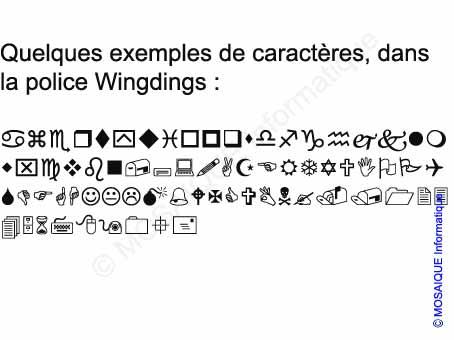Exemples de caractères de la police Wingdings - Cours Photoshop