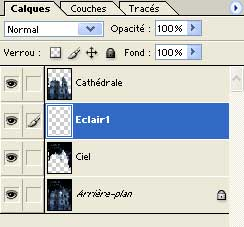 L'ajout du calque Eclair1 -  Photoshop - MOSAIQUE Informatique - Formations Indesign - 54000 - Nancy - Meurthe et Moselle -  www.mosaiqueinformatique.fr