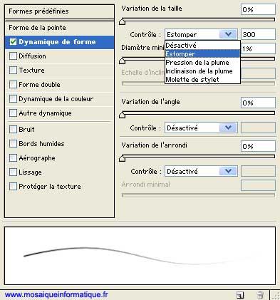 Les paramètres de dynamique de forme -  Photoshop - MOSAIQUE Informatique - Formations Xpress - 54000 - Nancy - Meurthe et Moselle -  www.mosaiqueinformatique.fr