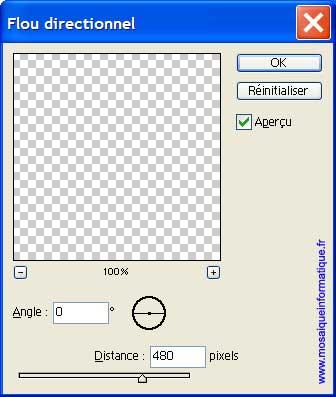 La boîte de dialogue Flou directionnel - Photoshop - MOSAIQUE Informatique - 54 - Nancy