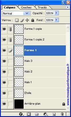 Les calques sont liés depuis la palette Calques - Photoshop - MOSAIQUE Informatique - 54 - Nancy