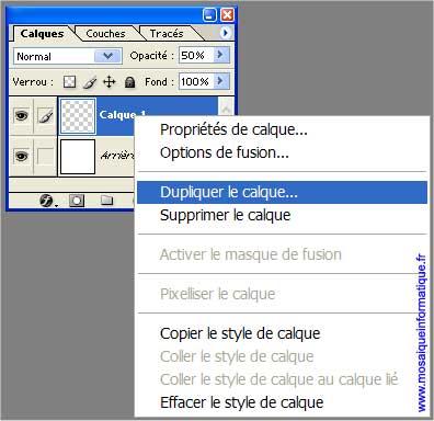 Le calque est dupliqué - Photoshop - MOSAIQUE Informatique - 54 - Nancy - www.mosaiqueinformatique.fr