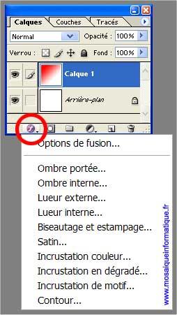 L'affectation d'un style à un calque - Photoshop - MOSAIQUE Informatique - 54 - Nancy - www.mosaiqueinformatique.fr
