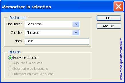 La mémorisation de la sélection - Photoshop - MOSAIQUE Informatique - 54 - Nancy - www.mosaiqueinformatique.fr