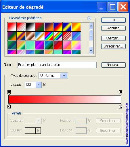 L'éditeur de dégradé - Photoshop - MOSAIQUE Informatique - 54 - Nancy - www.mosaiqueinformatique.fr