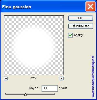 La boîte de dialogue Flou gaussien - Photoshop - MOSAIQUE Informatique - 54 - Nancy