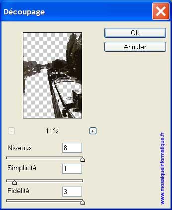 Les réglages du filtre Découpage - Photoshop - MOSAIQUE Informatique - Création de sites Internet - 54000 - Nancy - Meurthe et Moselle -  www.mosaiqueinformatique.fr
