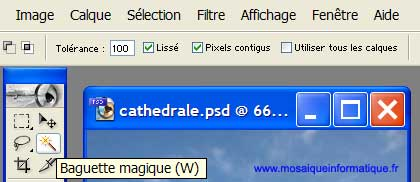 L'outil Baguette magique - Photoshop - MOSAIQUE Informatique - Création de sites Internet - 54000 - Nancy - Meurthe et Moselle -  www.mosaiqueinformatique.fr